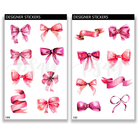 Pink Bows Journal Stickers 188