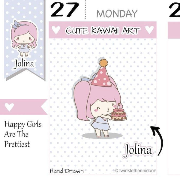 J006 | birthday stickers TwinkleTheUnicorn