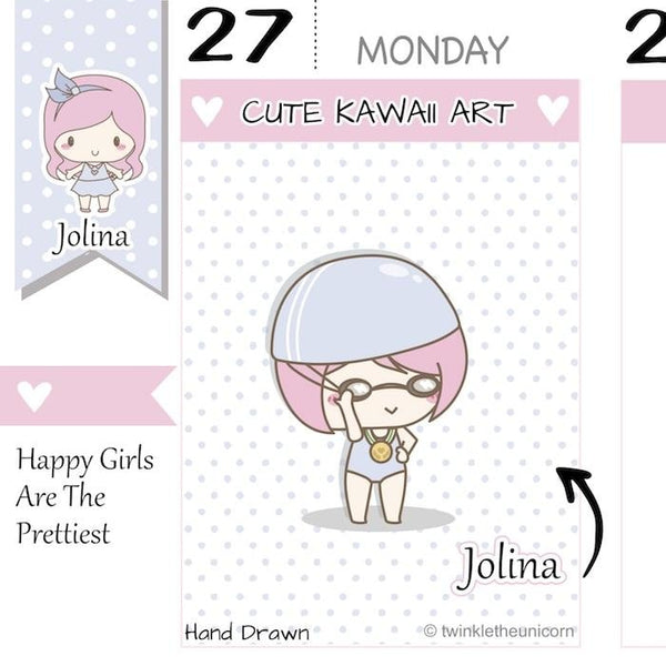J054 | Swimming Planner Stickers TwinkleTheUnicorn