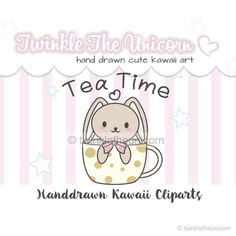 kawaii bunny clipart set TwinkleTheUnicorn