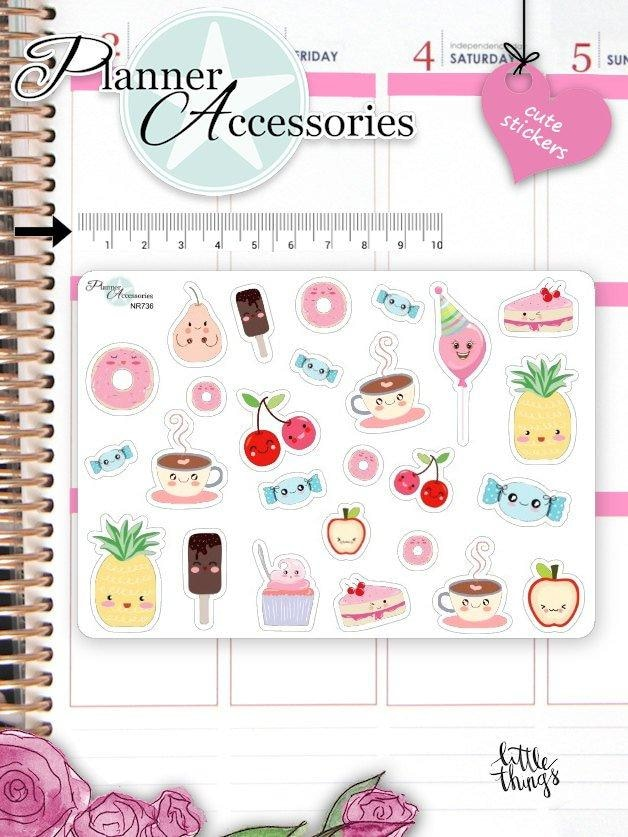 Kawaii Food Stickers NR736 EmelysPlannerShop