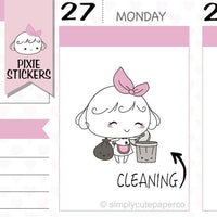 P128 | cleaning planner stickers TwinkleTheUnicorn