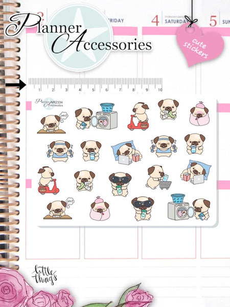 Kawaii Pug Planner Stickers 2334