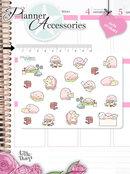 Kawaii Lazy Day Planner Stickers -  EmelysPlannerShop