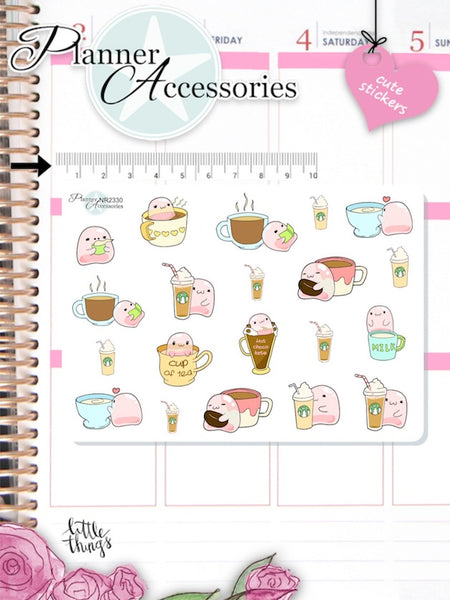 Kawaii Coffee and Tea Planner Stickers -  EmelysPlannerShop