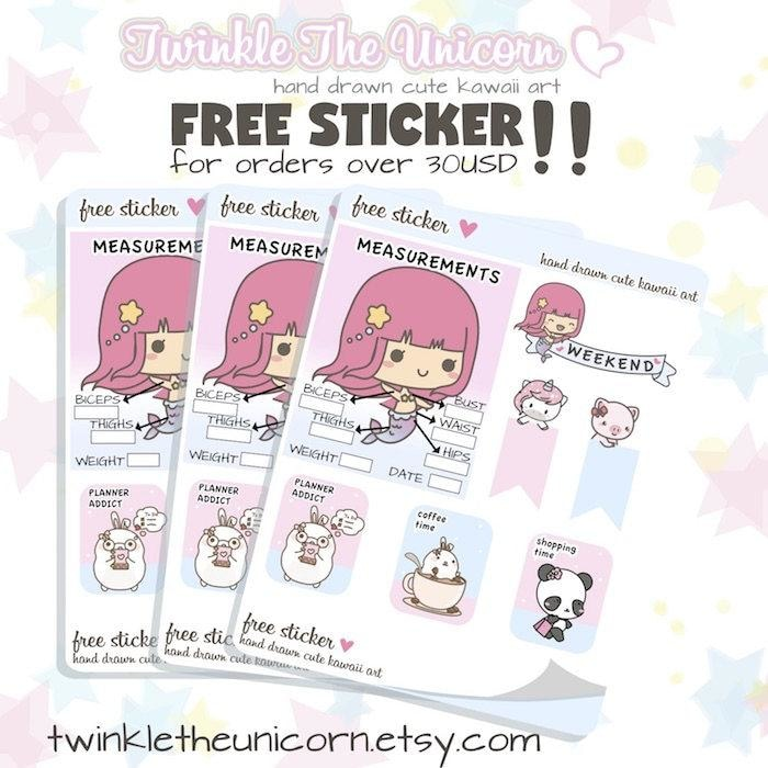 PW012 | coffe planner stickers TwinkleTheUnicorn