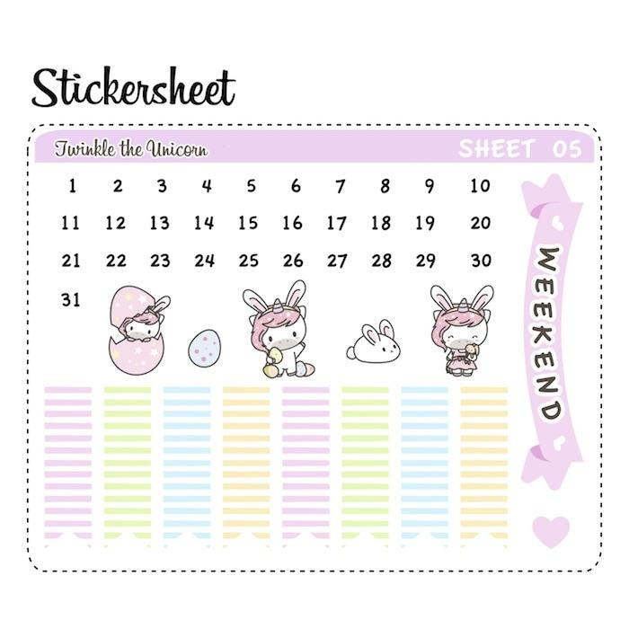 Set of 6 ECLP Vertical Planner Stickers A443 TwinkleTheUnicorn