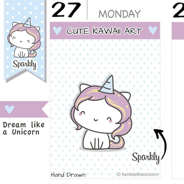 SP001 | Kawaii Unicorn Planner Stickers TwinkleTheUnicorn