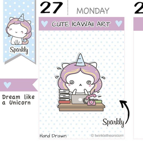 SP002 | Working Girl Planner Stickers TwinkleTheUnicorn