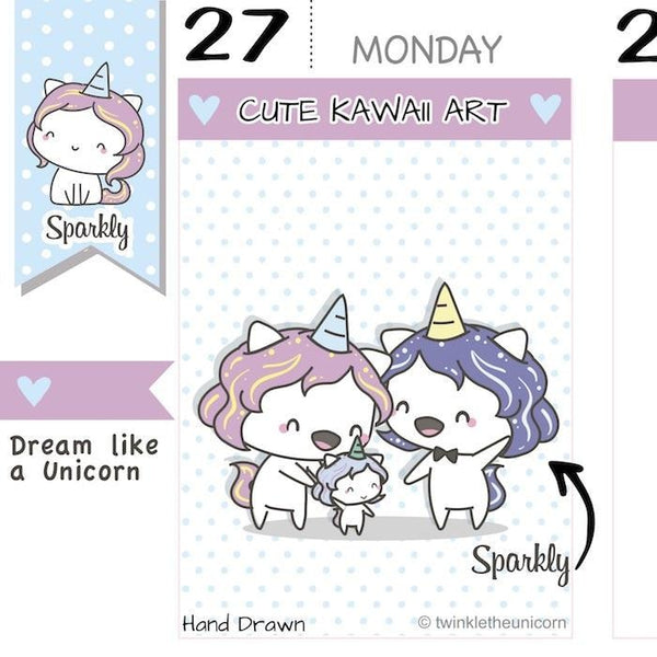 SP004 | Family Time Planner Stickers TwinkleTheUnicorn