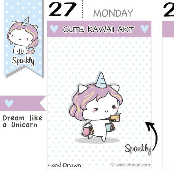 SP011 | Shopping Planner Stickers TwinkleTheUnicorn