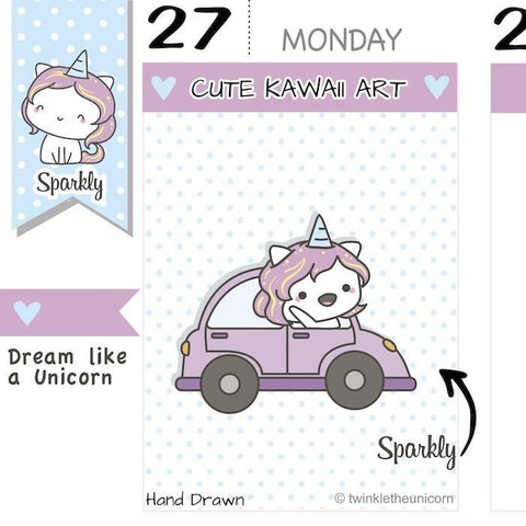 SP013 | Car Planner Stickers TwinkleTheUnicorn