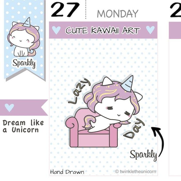 SP015 | Lazy Day Planner Stickers TwinkleTheUnicorn