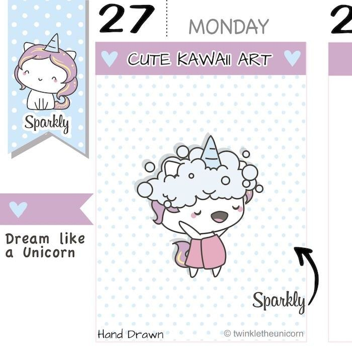 SP017 | Hair Wash Day Planner Stickers TwinkleTheUnicorn