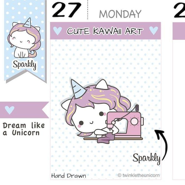 SP019 | Sewing Machine Planner Stickers TwinkleTheUnicorn