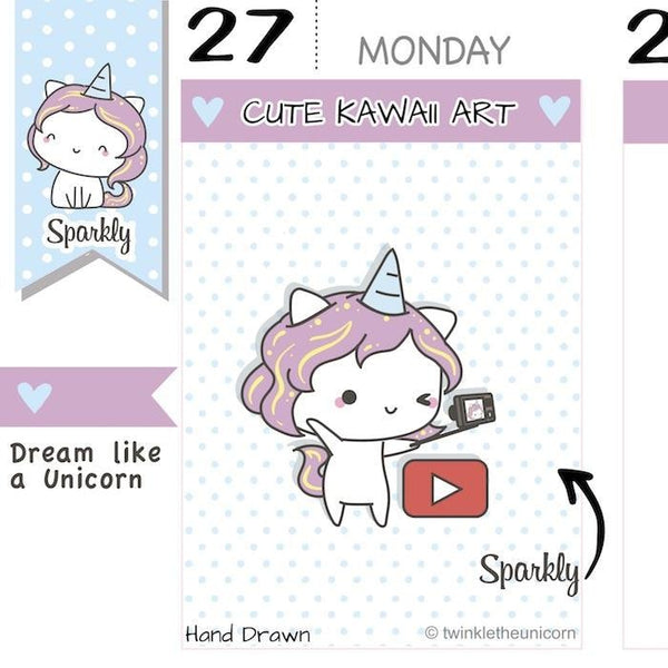 SP025 | YouTube Planner Stickers TwinkleTheUnicorn