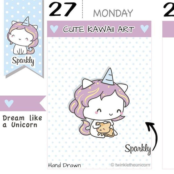 SP026 | Cat Planner Stickers TwinkleTheUnicorn