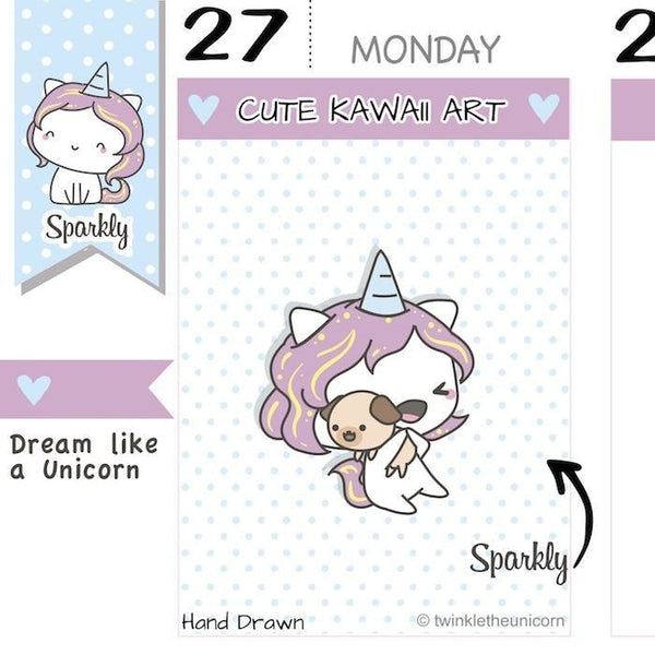 SP027 | Dog Planner Stickers TwinkleTheUnicorn