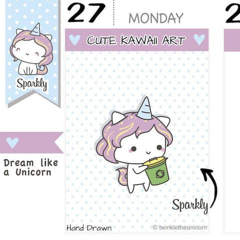 SP028 | Garbage Planner Stickers TwinkleTheUnicorn