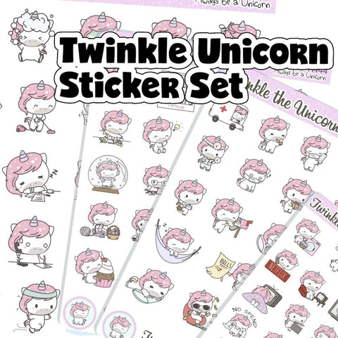 twinkle the unicorn sticker set A444 TwinkleTheUnicorn