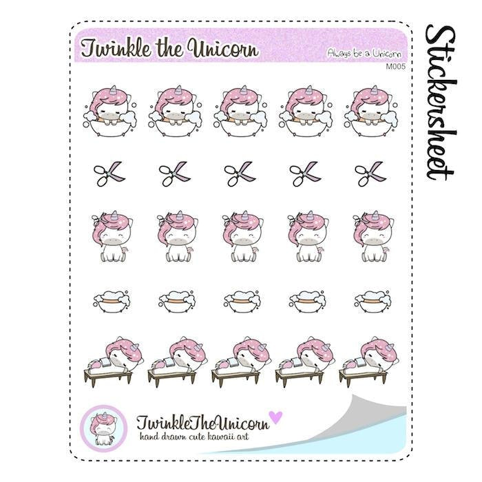 unicorn beauty planner stickers A005 TwinkleTheUnicorn