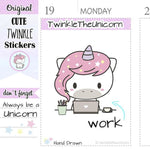 working planner stickers A019 TwinkleTheUnicorn