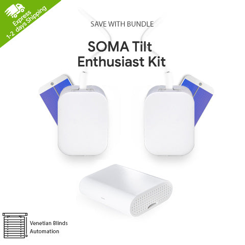 SOMA Tilt Enthusiast Kit SOMA Connect+ 2x Smart Shades + 2x Free Solar Panels