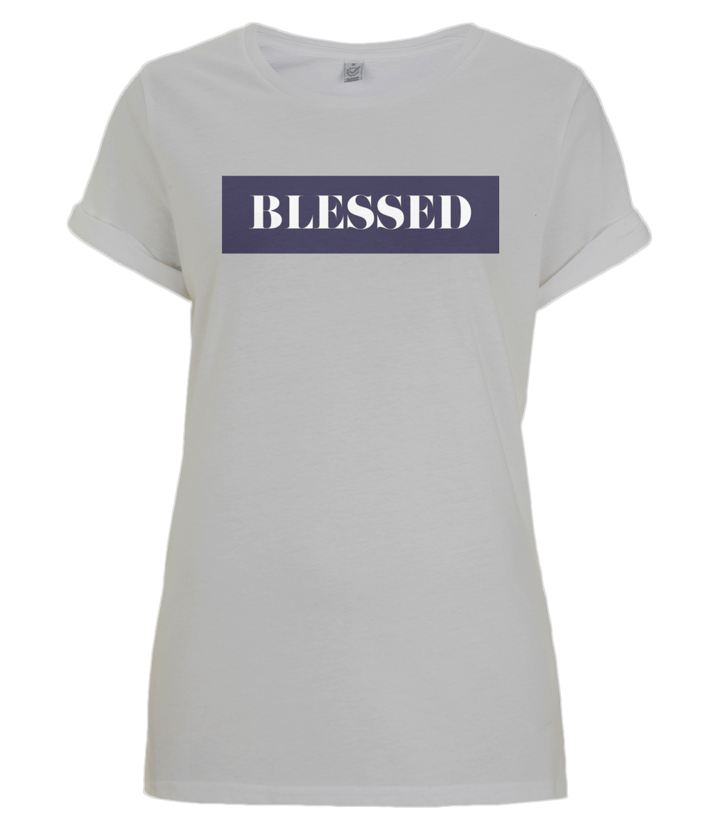 Women's Rolled Sleeve Blessed T-Shirt