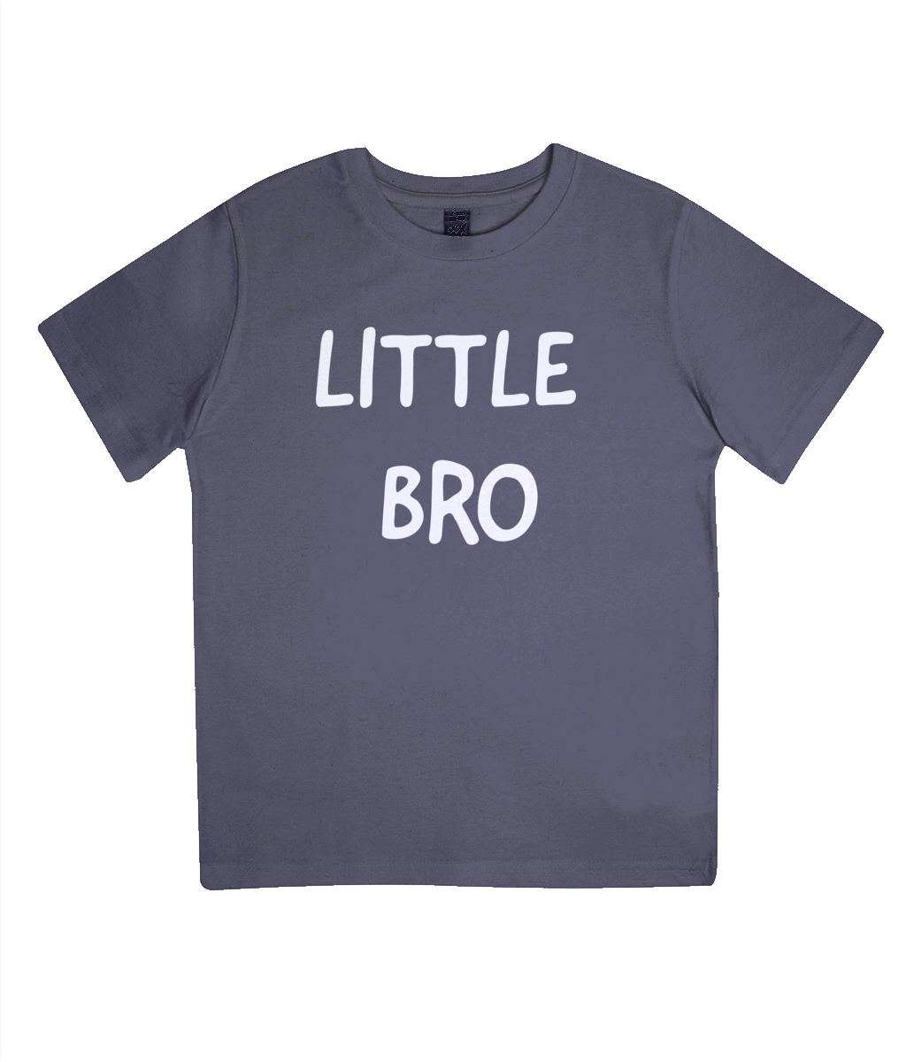black with white text little bro t-shirt in organic cotton