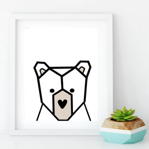 Nordic Bear Canvas Wall Art