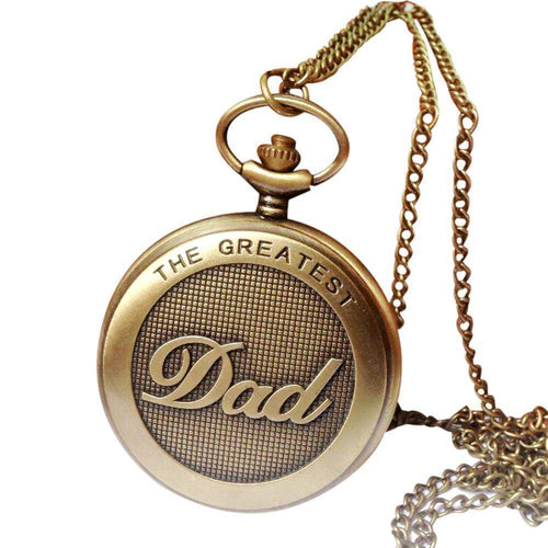 Vintage Chain Retro The Greatest Dad Pocket Watch