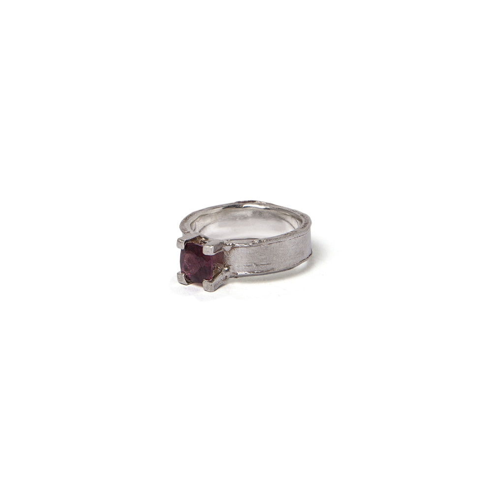 Square pink solitaire ring