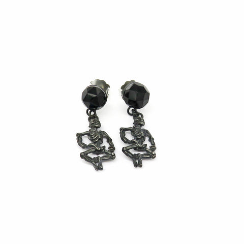 Black glass studs with dancing skellies