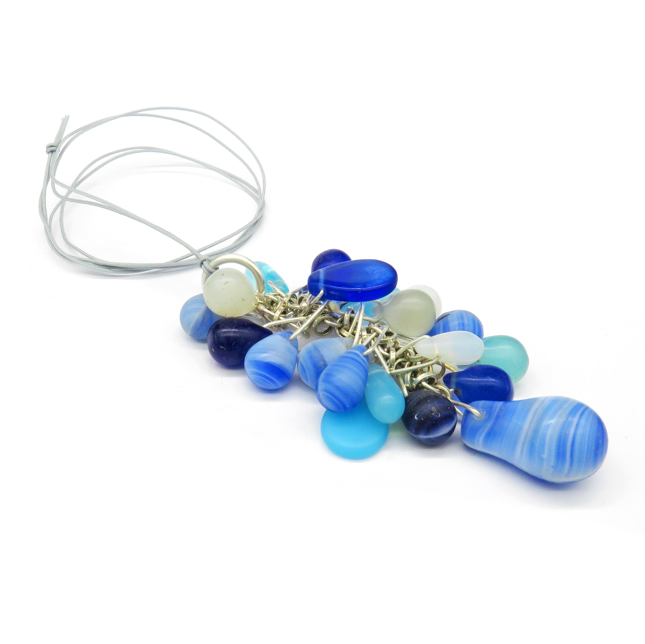 Blue trade bead cluster pendant