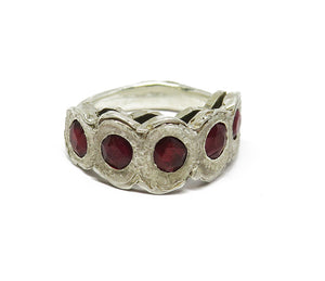 Rough 5-stone ring: rubies!