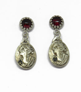 Cameo danglies with garnets