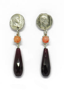 Delicate impression studs with coral and garnet