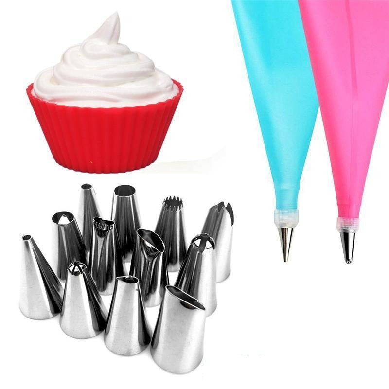 14-piece piping bag set for cupcakes and tarts
