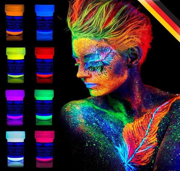 6 fluorescent UV body painting body colors