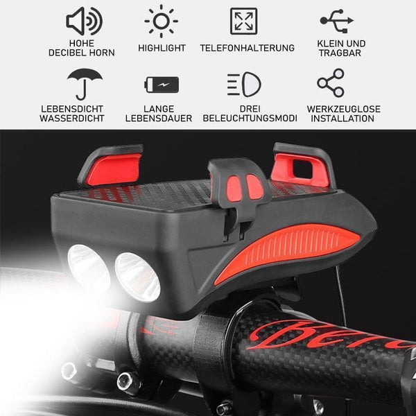 Bicycle phone holder with LED headlights
