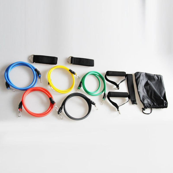 11-piece fitness resistance bands set for home workouts
