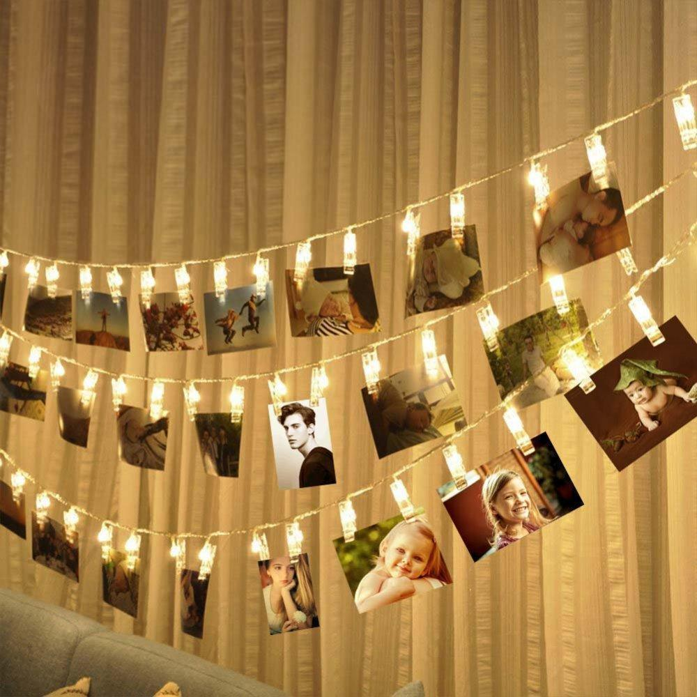 LED light chain with photo clips