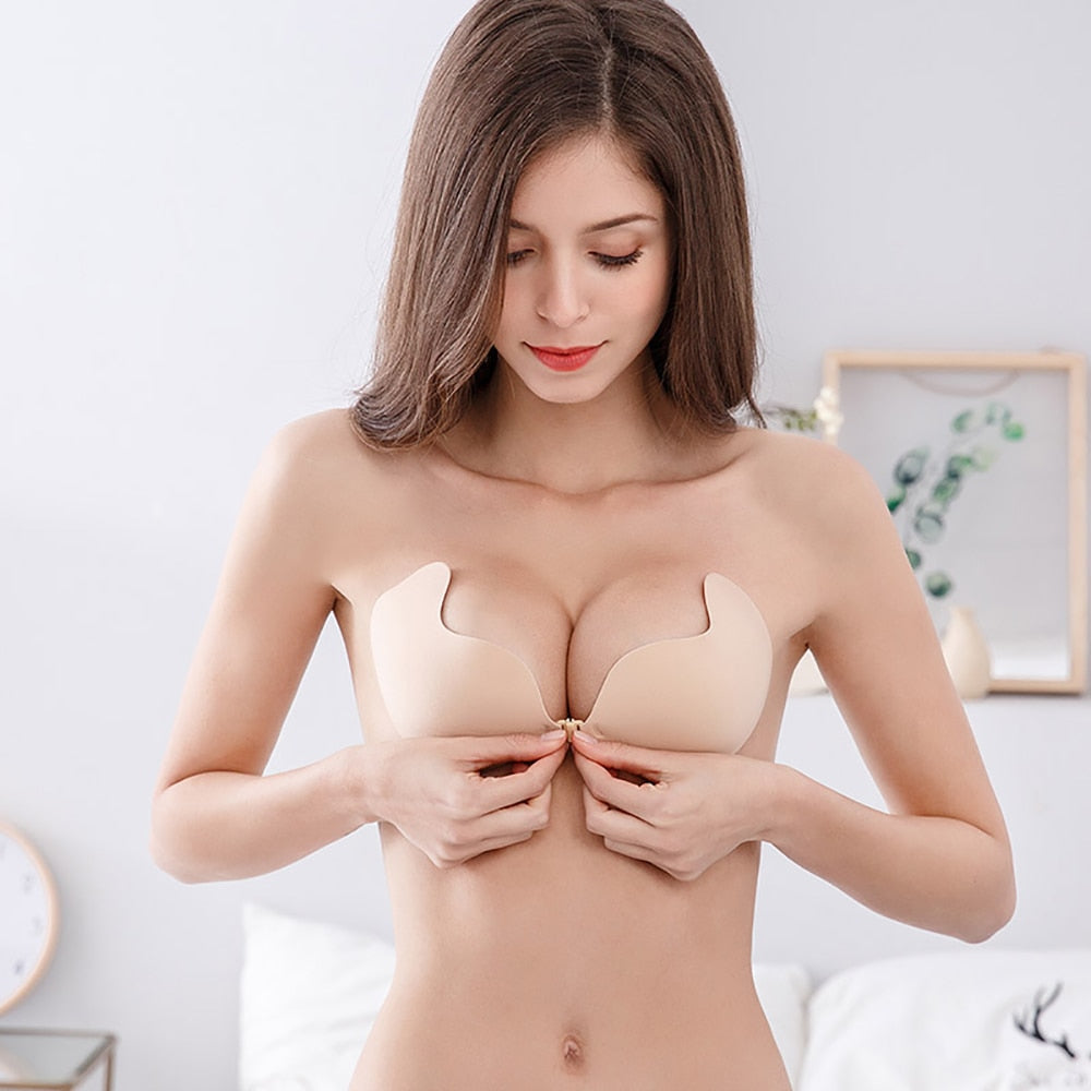 Self-adhesive push-up bra without straps