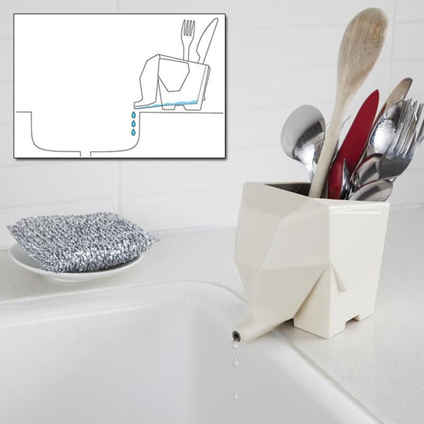 Drain elephant to dry dishes