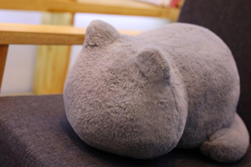 Soft cat cuddly pillow in the shape of a cat