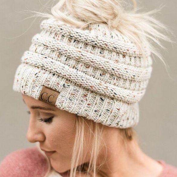 Ponytail hat with a hole for a braid