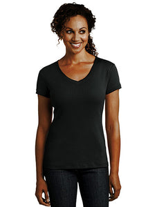District Made® Ladies Mini Rib V-Neck Tee