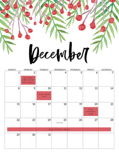 Winter and Holiday Shop Schedule
