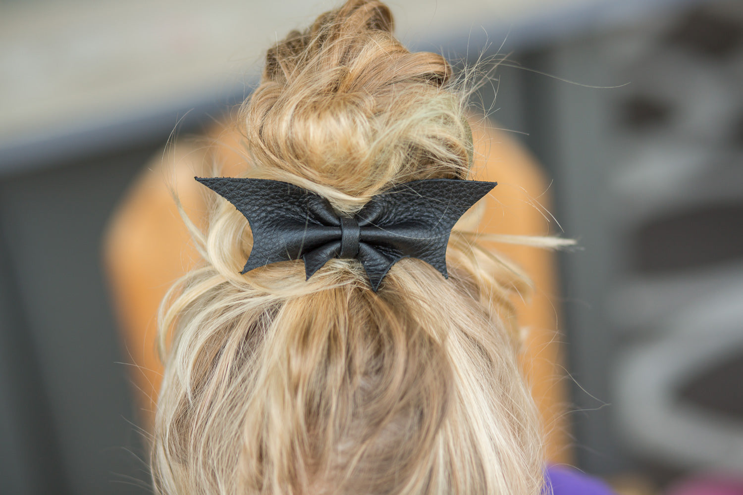 Black Bat Leather Bow