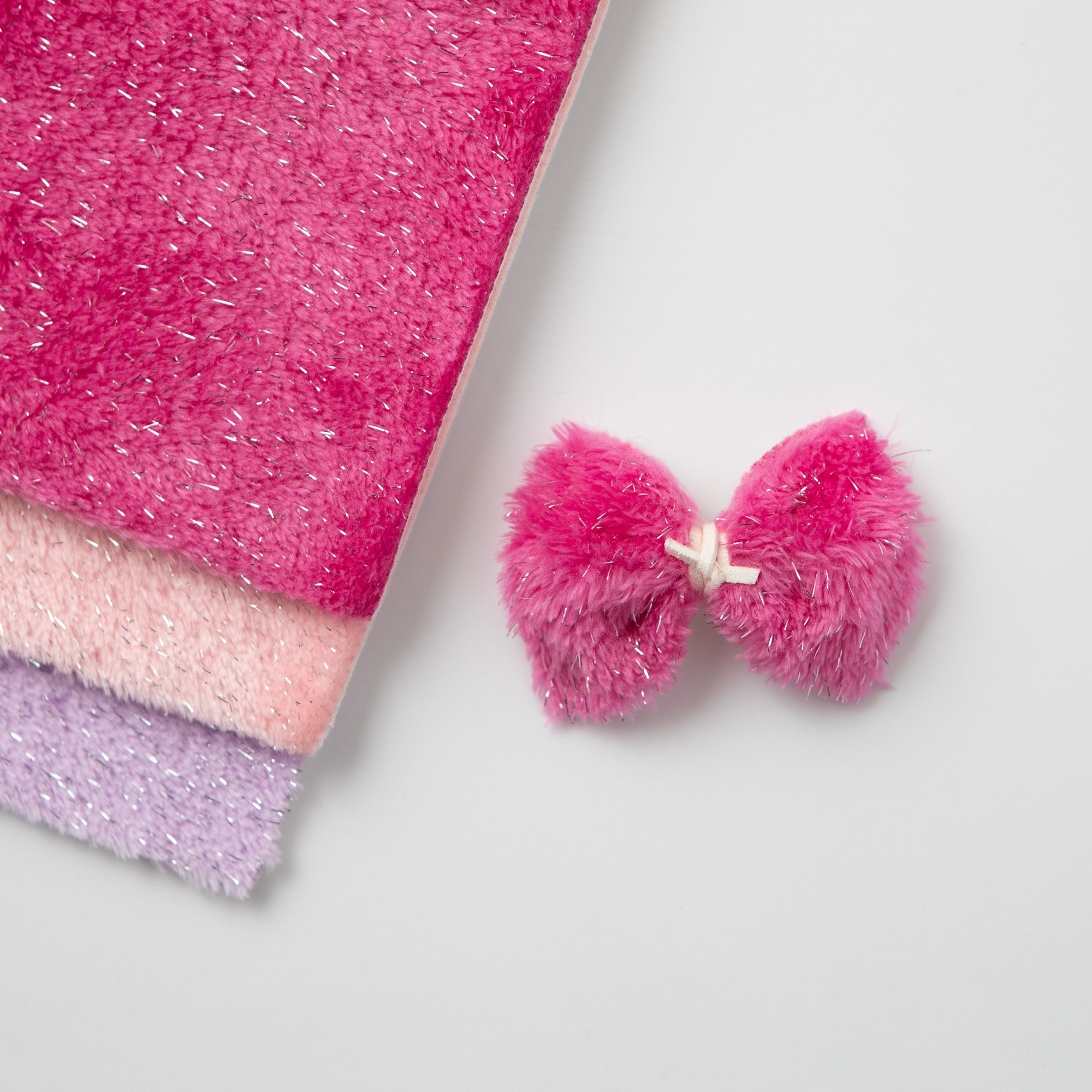 Furry Sparkle Bows (3 color options available)